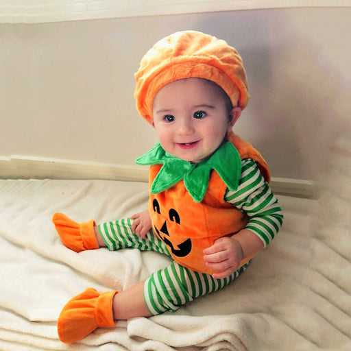 Baby Kids Pumpkin Romper+Cap+Shoes Set | Halloween Outfit