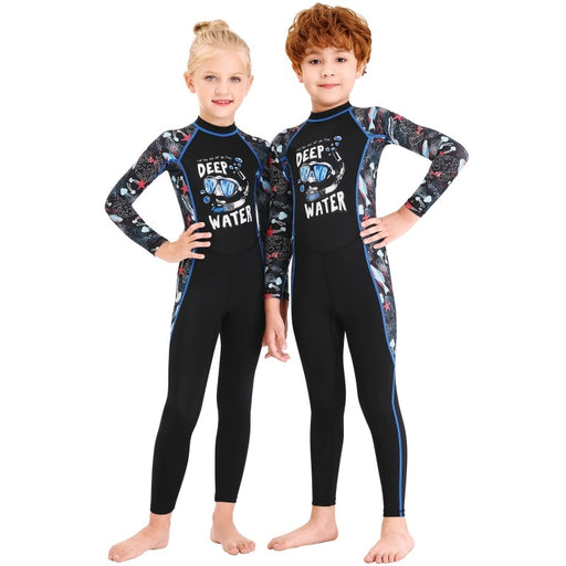 Kids Girls Boys Diving Suit Neoprenes Wetsuit Children For Keep Warm One-piece Long Sleeves UV Protection Swimwear