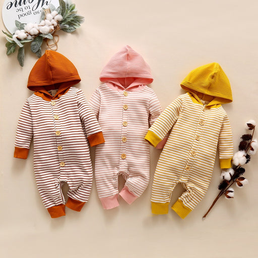 Newborn Kids Striped Rompers | Hooded Jumpsuit Outfit