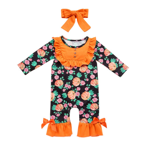 Newborn Girls Halloween Dress | Floral Jumpsuit+Headband Set