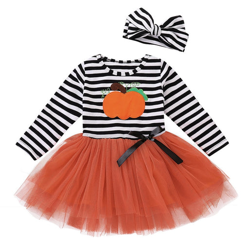 Girls Striped & Mesh Net Halloween Frock+Headband Clothing