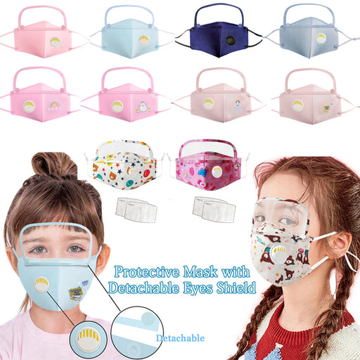 Child Scarf Dustproof Outdoor Removable Face Protective Face Mask with Eyes Shield + 2 Filters Face Mascarillas Máscara facial