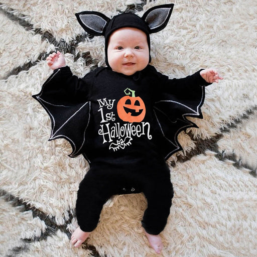 Newborn Kids Halloween Bat Costume | Winter Jumpsuit & Cap
