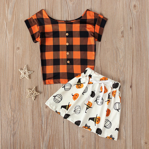 Baby Girls Plaid Top & Skirt Set | Halloween Party Dress