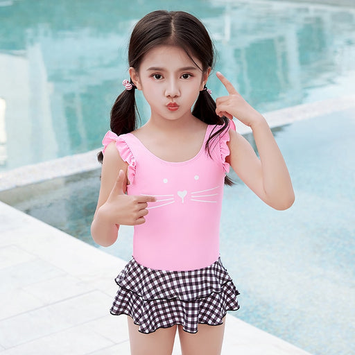 Girl Pink Swimsuit Dress One Piece Kids Baby Toddler Swimming Wear 3-9 Years Bathing Suit Beach Wear