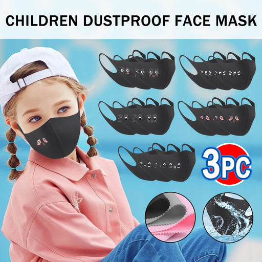3 PCs Kids Face Mask Moisture-Proof Animated Print