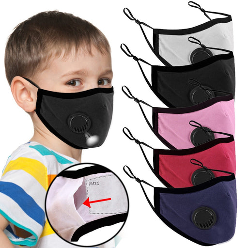 5 Pcs Set Kids Respirator Washable Cloth Based Facemask With Adjustable Band
