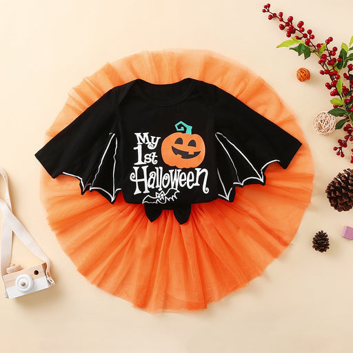 Newborn Baby Girls Halloween Outfit | Romper Top & Skirt Set