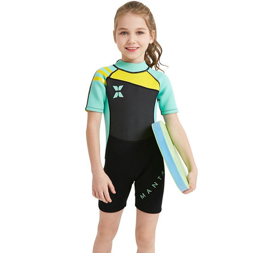 2019 New One Piece 2.5MM Kids Girl Short Sleeve Diving Shorty Wetsuit Swim Surfing Suit Keep Warm UV Protection Swimwear