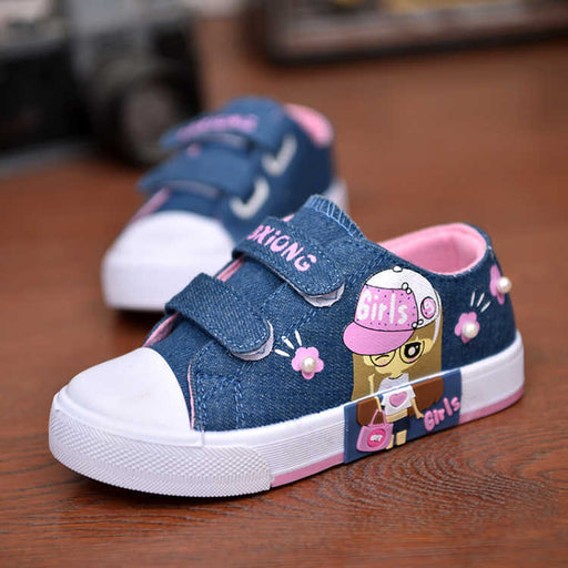 Girls Cartoon Print Denim Shoes | Girls Sports Sneakers