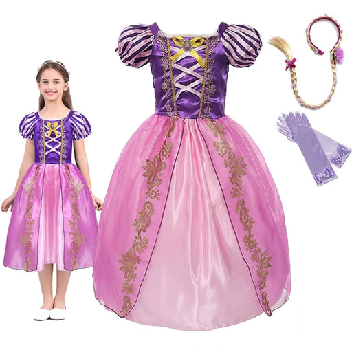 Girls Rapunzel Frock | Tangle Cosplay Party Costume