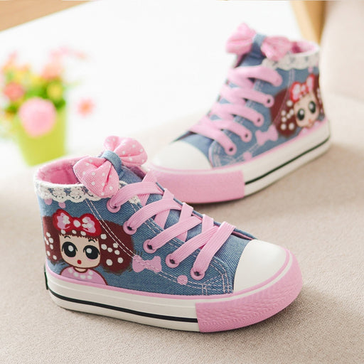 Girls Cartoon Print Boot Shoes | Girls Lace Canvas Sneakers