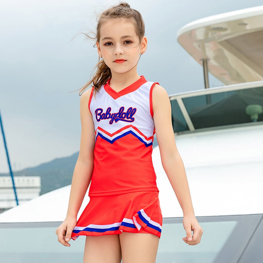 Girl swimsuit teenager 6-13 years two piece skirt bathing suit beach wear solid blue red student sport suit swimming wear