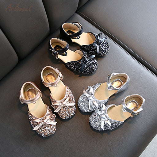 Girls Rhinestone Latin Dance Shoes | Glittery Bow Knot Shoes