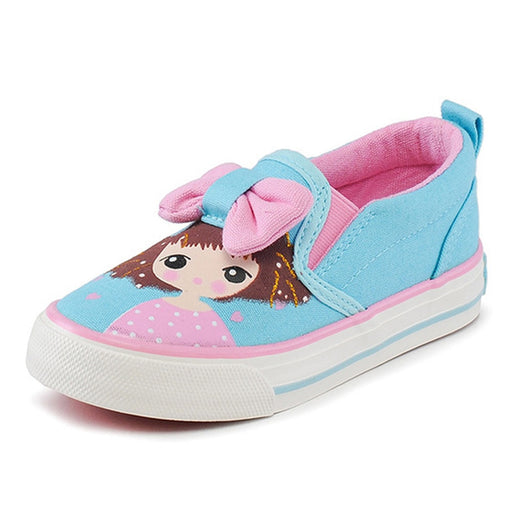 Girls Cartoon Print & Bow Knot Shoes | Girls Loafer Shoes