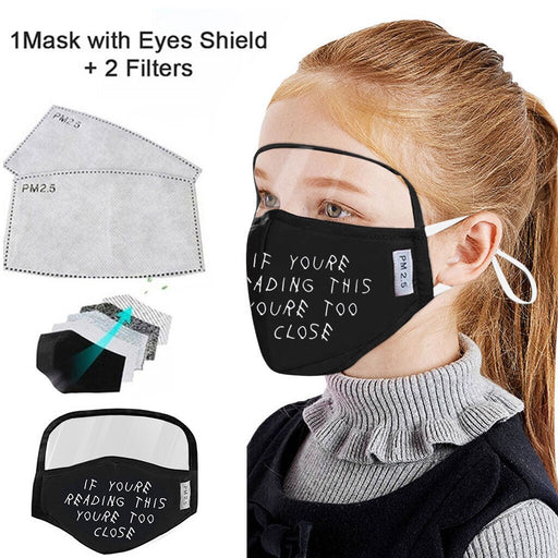 Child Dustproof Outdoor Face Protective Face Mask with Eyes Shield + 2 Filters Scarf Face Mascarillas Máscara facial  9