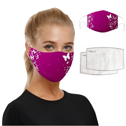 New Trending Fashion Face Maskswashable And Reusable Butterfly Print Dustproof Scarf Facemask With 2 Filters Mondmasker Masque
