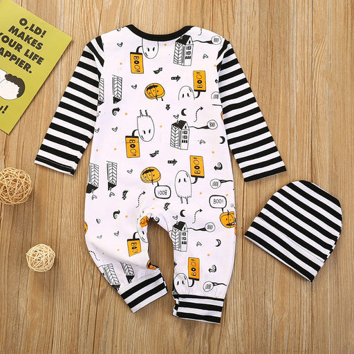 Newborn Kids Pumpkin Halloween Outfit | Romper+Cap Dress Set