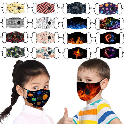 In Stock Kids Facemask Children Scarf Facemaska Kawaii Print Facemask Mascherine Girls Boys Safety Facemaske Cubrebocas 9