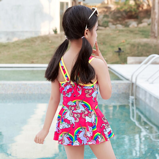 Girl One Piece Swimsuit Skirt Kids Baby Toddler Beach Wear 3-9 Years Pink Print Swimming Wear Beach Wear