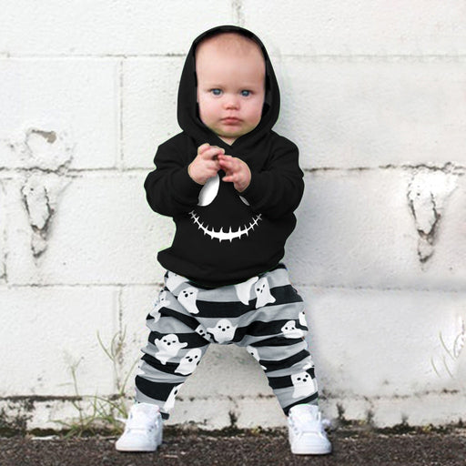 Newborn Boys Ghost Print Hood Top+Striped Pant Halloween Set