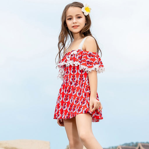 Teenager Girl swimsuit Dress 6-13 years Lace One Piece Skirt Bathing Suit Off Shoulder Beach Wear Student Suit Swimming Wear
