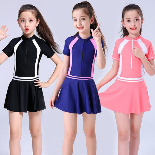 2020 Child Swimwear Girls Swimwear Boxers One Piece Swimming Suit Skirt Diving Suit Children Bathing Suit Zipper Tight Swimsuit