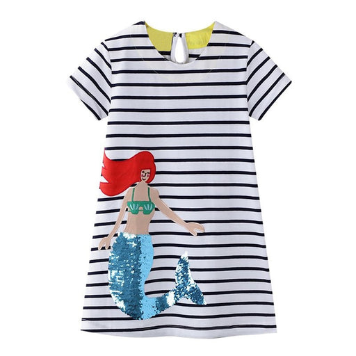 Girls Mermaid Princess Print Top | Striped Sundress Clothing
