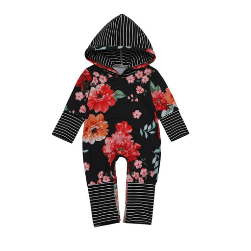 Baby  Romper Long-Sleeved Hooded Boys Girls Clothes Striped Flower Jumpsuit For Baby