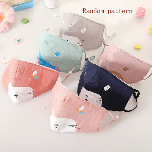 6PCS Cartoon Animal Kids Cotton Anti-pollution Cute Mouth Anti-dust Face s baby accessories hair band Reusable headwear Maschera