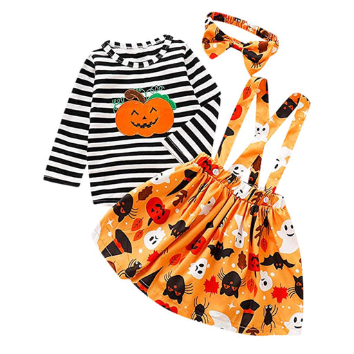 Baby Girls Halloween T-Shirt+Suspender Skirt+Headband Set