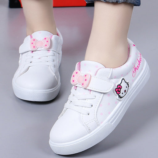 Girls Waterproof Leather Shoes | Girls Bow Knot Sneakers
