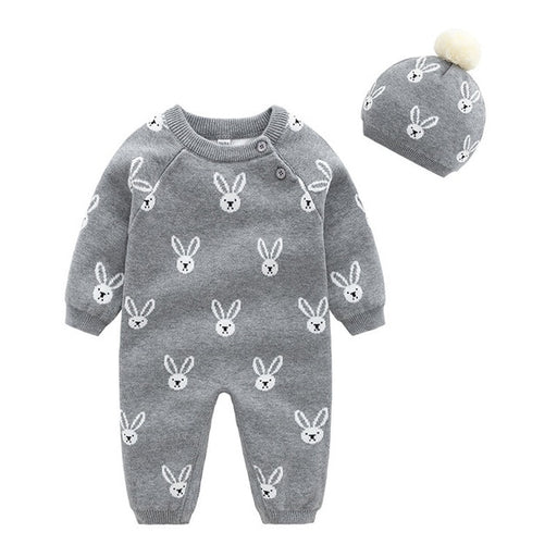Newborn Unisex Romper | Cotton Knitted Jumpsuit & Warm Cap Set