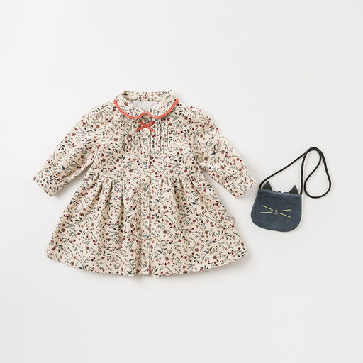 Baby Girls Casuals | Girls Princess Bow Floral Print & Cat Bag Dress