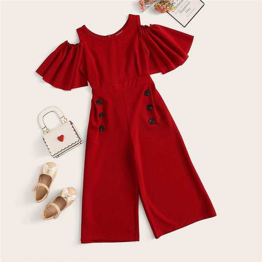 SHEIN Kiddie Red Solid Cold Shoulder Button Side Casual Girls Jumpsuit  Summer Flounce Sleeve Wide Leg Zipper Long Jumpsuits