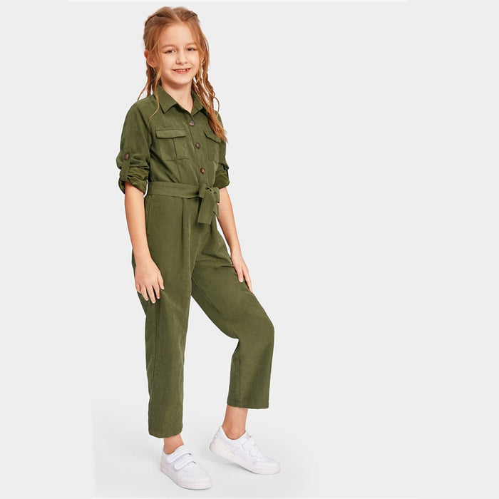SHEIN Kiddie Army Green Button And Pocket Front Belted Casual Girls Jumpsuit  Summer Roll Up Sleeve Straight Leg Jumpsuits