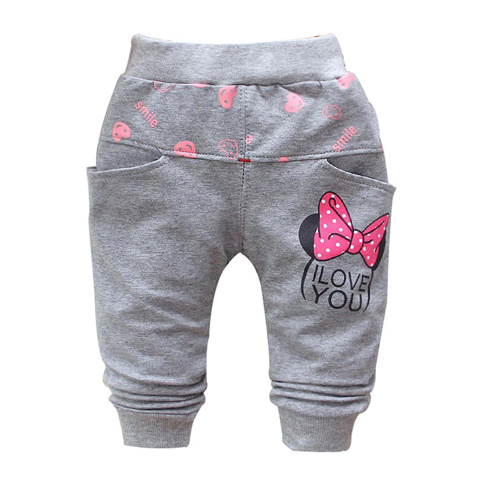 Autumn new cotton Cartoon cute butterfly pattern baby pants baby girls leggings 0-3 year baby harem pants - KiddyLanes
