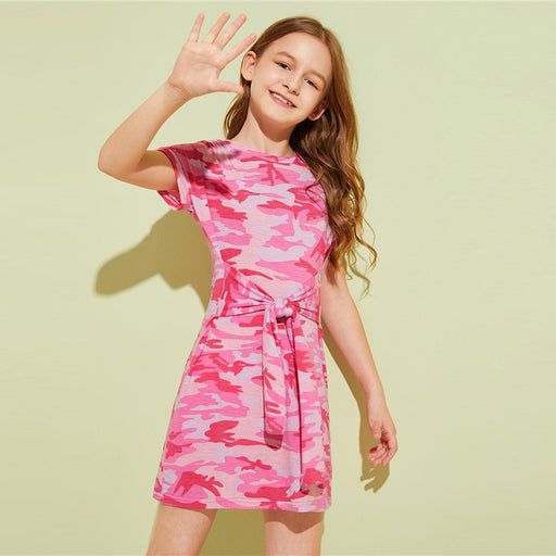 Girls Casual Dresses | SHEIN Camouflage Tie Waist Short Tee Dress