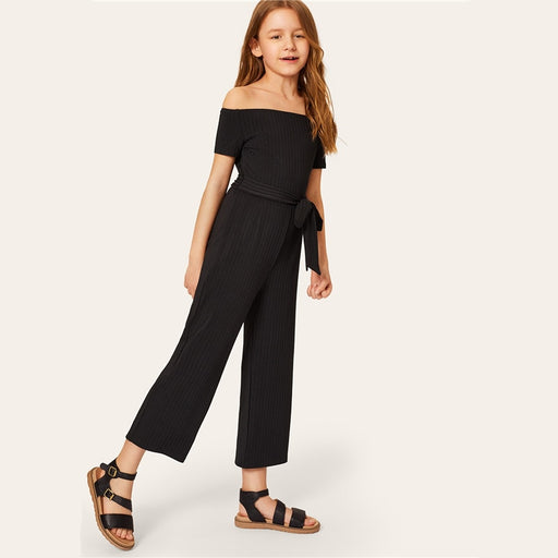SHEIN Kiddie Girls Black Off The Shoulder Rib-knit Bardot Casual Romper With Belt  Summer Sleeveless Wide Leg Kids Jumpsuits