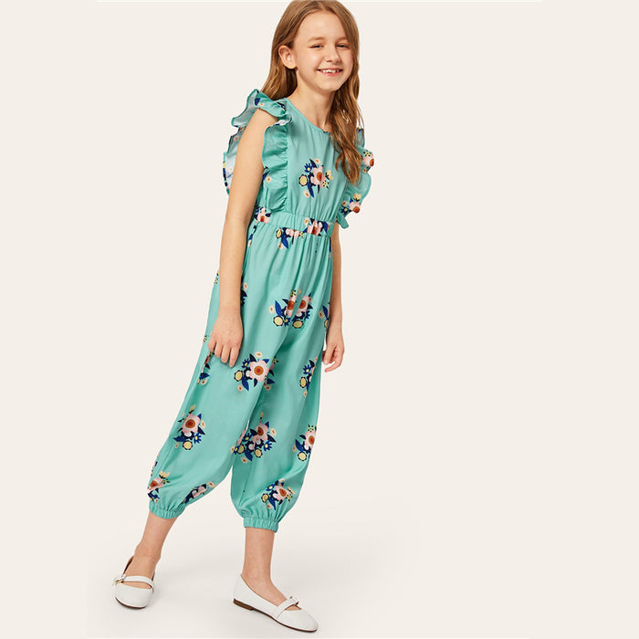 SHEIN Kiddie Turquoise Floral Print Ruffle Trim Girls Jumpsuit  Summer Sleeveless Vacation Casual High Waist Kids Jumpsuits