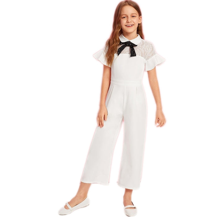 SHEIN Kiddie White Solid Contrast Lace Tie Neck Ruffle Party Girls Jumpsuit  Summer Flounce Sleeve Wide Leg Cute Jumpsuits
