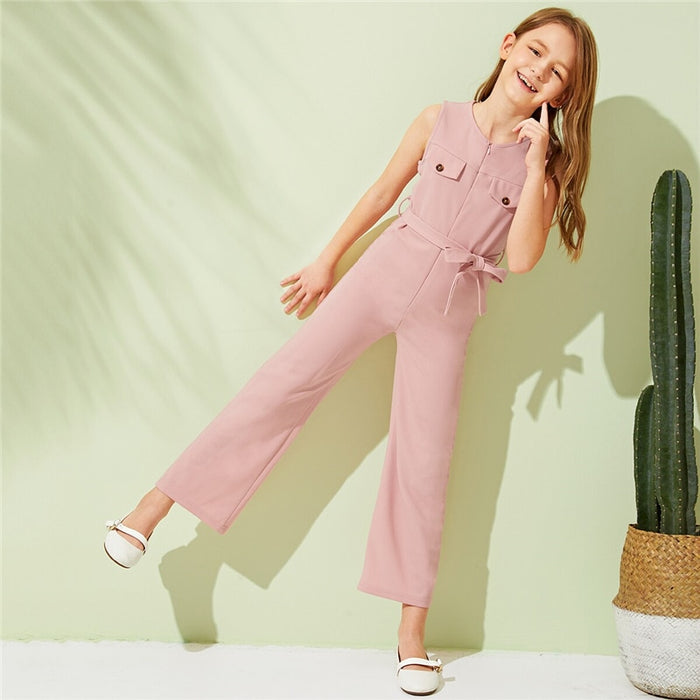 SHEIN Kiddie Pink Zipper Front Casual Girls Jumpsuit With Belt  Summer Sleeveless Double Pocket Straight Leg Kids Jumpsuits