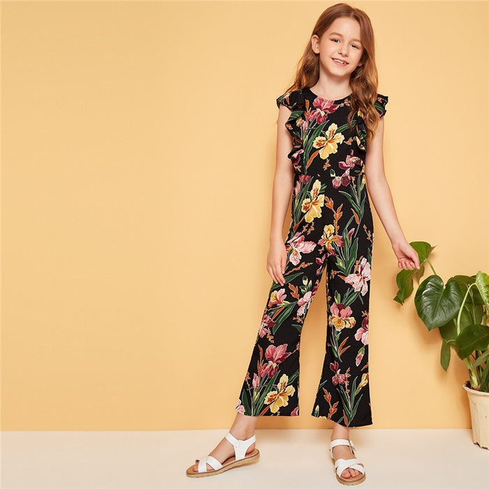 SHEIN Kiddie Floral Print Ruffle Trim Zipper Vacation Jumpsuit  Summer Holiday Butterfly Sleeve Boho Flare Leg Girl Jumpsuit