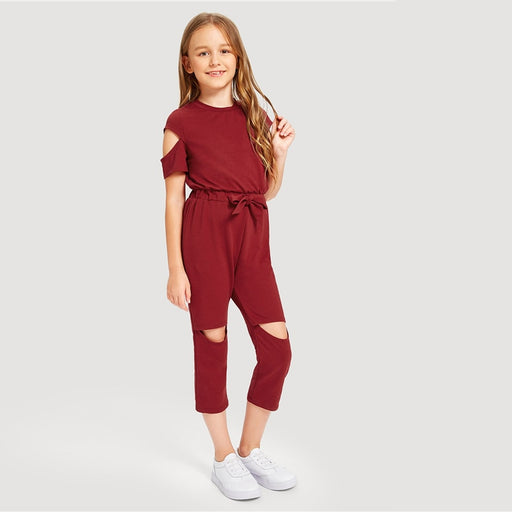 SHEIN Kiddie Burgundy Cold Shoulder Zip Back Cut Out Drawstring Waist Jumpsuit  Summer Short Sleeve Casual Girls Jumpsuits