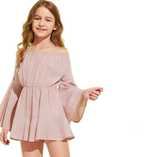 Girls SHEIN Cold Shoulder Boho Beach Jumpsuit | Girls Frilled Dress