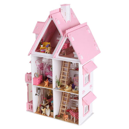 DIY Kit Dollhouse Toy Miniature Scale Model Puzzle Wooden Doll House,Unique Big Size House Toy With Furnitures for Birthday Gift