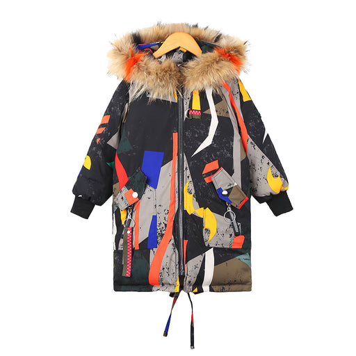 Unisex Winter Warm Hooded Fur Jacket for Girls & Boys | Funky Army Style Warm Cotton-padded Jacket | Winter Outer Coat