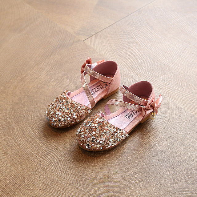 Girl Flat Heel Party Sandal Shoes | Fashion Sequins Bow Glittering Pearl Sandals For Girls
