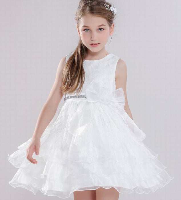 Girl dress Princess Dress for Girls white lace bow Fluffy gauze kids dresses for girls Children Clothing