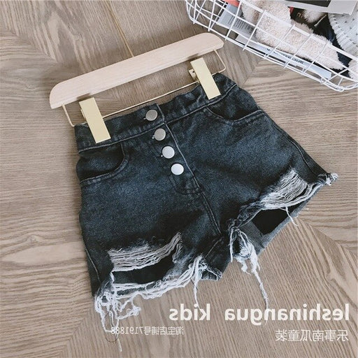 Baby Girls button front ripped, denim grey side pockets shorts.